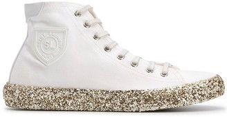Saint Laurent Bedford glitter-embellished hi-top sneakers