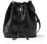 Frank & Oak Leather Bucket Bag in Black