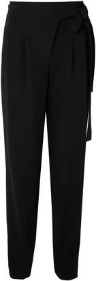Michael Kors Tie-waist Pleated Wool Serge Tapered Pants