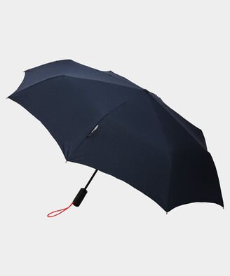London Undercover Auto-Compact Umbrella in Navy with Neon Strap