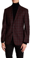 Vince Camuto Burgundy Plaid Two Button Notch Lapel Trim Fit Wool Jacket