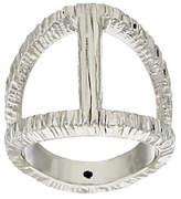Italian Jewelry Collection Italian Silver Sterling Elongated Diamond Cut Status Ring