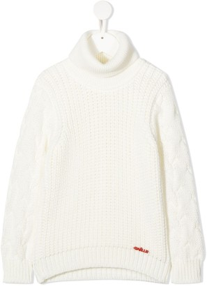 Gaelle Paris Kids Logo Embroidered Cable-Knit Jumper