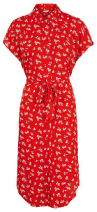 Pieces Printed Viscose Shirt Dress - viscose | red | Floral | XS . - Red/Red