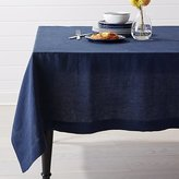 """Crate & Barrel Helena Indigo Blue Linen Tablecloth 60""""x60"""""""