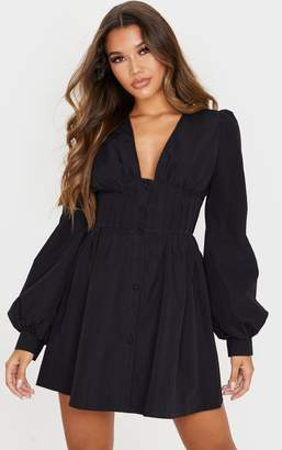 PrettyLittleThing Black Button Front Fitted Puff Sleeve Skater Dress