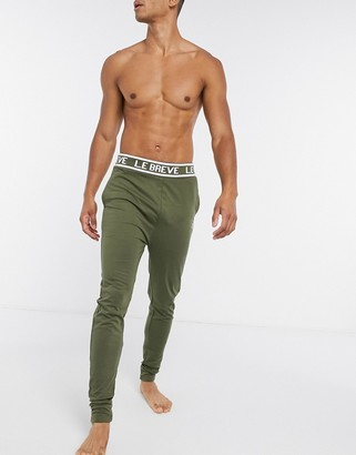 Le Breve lounge pants with printed waistband in khaki