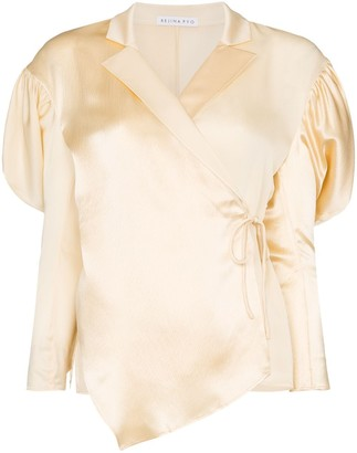 REJINA PYO Wrap-Style Puff-Shoulder Blouse