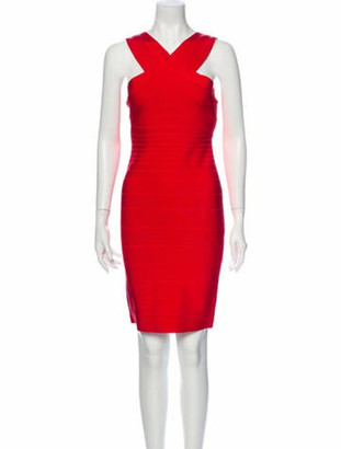 Herve Leger Stella Knee-Length Dress w/ Tags Red