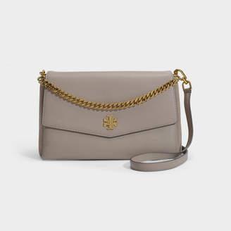 Tory Burch Kira Mixed Materials Shoulder Bag In Grey Calfskin