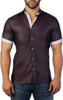 Maceoo Galileo Short Sleeve Zig Zag Print Tailored Fit Dress Shirt