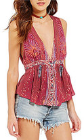 Free People The Siren Plunging V-Neck Sleeveless Printed Blouse