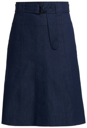 Akris Punto Belted Denim Midi Skirt