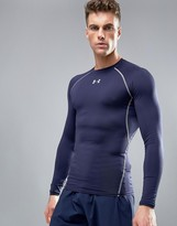 Under Armour Heatgear Technical Compression Long Sleeve T-Shirt In Navy
