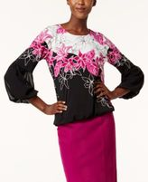 Alfani Printed Bubble-Sleeve Top, Created for Macy's