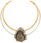 Alexander McQueen Pyrite-embellished double-hoop choker