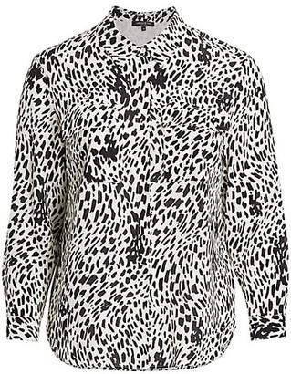 Lafayette 148 New York, Plus Size Zora Spotted Silk Blouse