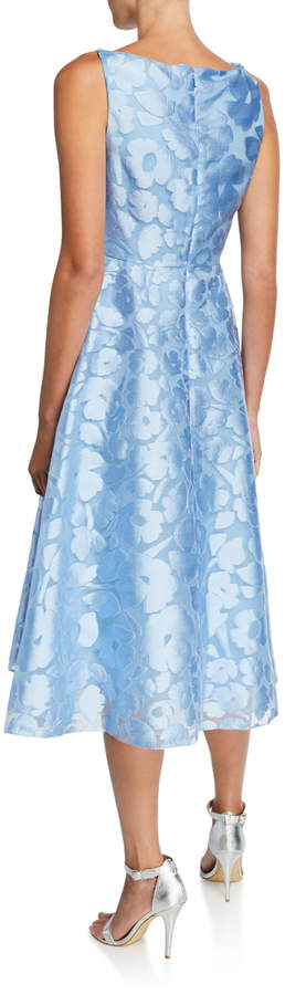 Lela Rose Floral Jacquard Tied Fit-and-Flare Dress