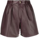 Etro leather-effect pleated shorts