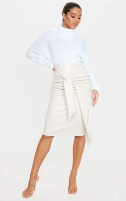 PrettyLittleThing Cream Faux Leather Drape Front Midi Skirt