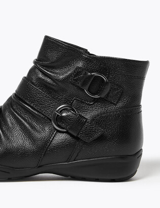 Marks and Spencer Wide Fit Leather Buckle Ruched Ankle Boots