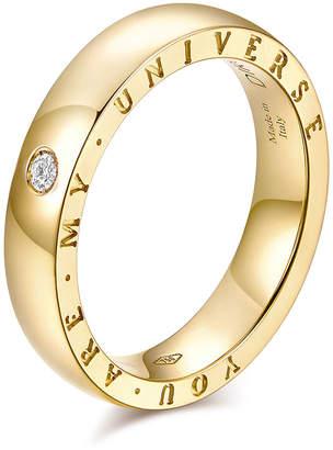 "Milani Alberto Dirce ""You Are My Universe"" 18k Yellow Gold 4.3mm Band Ring w/ Diamond, Size 9"