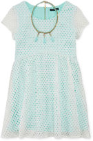 My Michelle Cap-Sleeve Cutout Skater Dress and Necklace- Girls 7-16