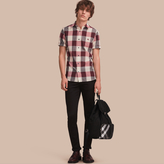 Burberry Short-sleeved Exploded Gingham Cotton Linen Shirt