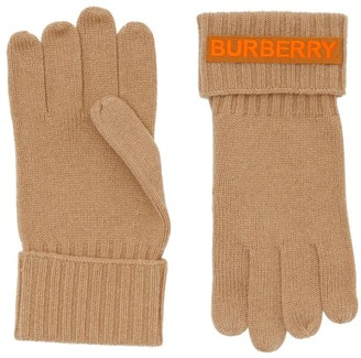 Burberry Kingdom And Logo Applique Cashmere Gloves