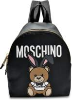 Moschino Small Teddy Playboy Backpack in Black Saffiano
