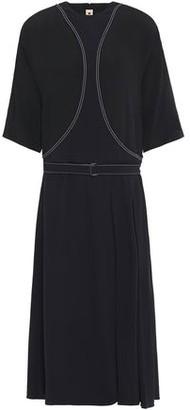 Marni Belted Embroidered Crepe Midi Dress