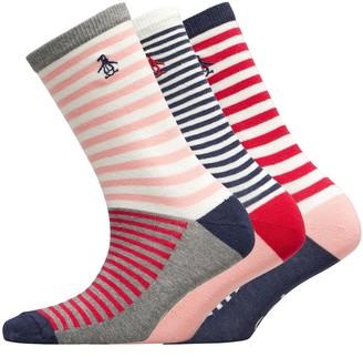 Original Penguin Womens Three Pack Socks Block Stripes /Pink/White/Grey