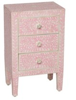 The Well Appointed House Bone Three Drawer Nightstand with Pink Inlay-ON BACKORDER UNTIL AUGUST 2016