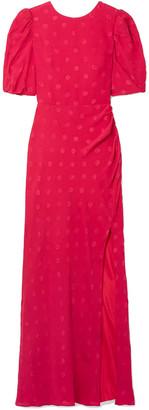 Saloni Annie Gathered Silk-jacquard Maxi Dress