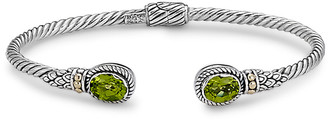 Samuel B. 18K & Sterling Silver 2.85 Ct. Tw. Peridot Twisted Cable Bangle Bracelet