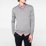 Paul Smith Men's Grey Marl Merino-Wool V-Neck Sweater