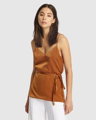 FRIEND of AUDREY - Women's Brown Singlets - Suri Satin Tie Top - Size One Size, 8 at The Iconic