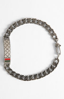 Gucci Men's Diamante Pattern Sterling Silver Bracelet