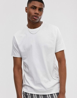 Asos DESIGN organic heavyweight relaxed t-shirt with crew neck & raw edges in white