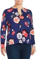 Lord & Taylor Plus Floral-Print Cotton Cardigan
