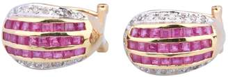 Rubis Non Signé / Unsigned Non Signe / Unsigned Pink Yellow gold Earrings