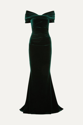 Talbot Runhof Bobonne Off-the-shoulder Ruched Stretch-velvet Gown - Dark green