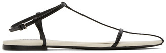 Jil Sander Black and White Pointy Toe Flat Sandals
