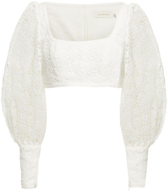 Zimmermann Super Eight Cropped Gathered Guipure Lace Top