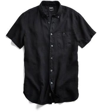 Todd Snyder Short Sleeve Linen Button Down Shirt in Black