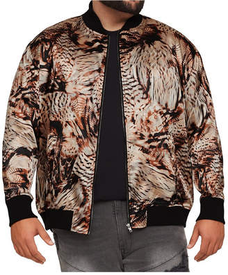 Men Big & Tall Mvp Collections Satin Animal/Feather Print Bomber Jacket