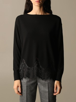 Kaos Crewneck Sweater In Viscose With Lace Details