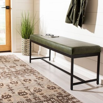 Williston Forge Aniyah Faux Leather Upholstered Bench Williston Forge Upholstery : Dark Green
