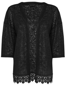 Dorothy Perkins Womens Black Crochet Hem Kimono, Black