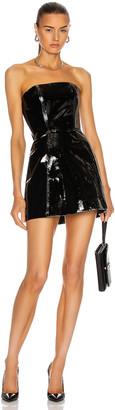 David Koma Off Shoulder Corset Patent Mini Dress in Black | FWRD